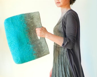 SMALLER Turquoise Grey Sturdy Everyday Art Bag / Carryall / Tote / Basket / Shopping / Market / Picnic / Hand felted wool / Wearable Art