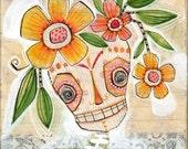 dia de los muertos - sugar skull - watercolor,  8 x 8 limited edition and archival print by cori dantini