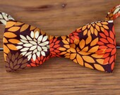Boys Bow Tie - Fall Floral on Woven Cotton, bowtie for infant, toddler, child | little boys bow tie | childrens ties | pre tied bow ties