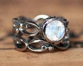 Rainbow moonstone engagement ring, moonstone ring gold, white gold bridal set, white gold infinity ring, womens wedding band, custom Wrought