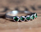 5 stone ring, tsavorite garnet ring, five stone ring, annivesary ring, anniversary band for her, anniversary rings for her, size 6 or 7
