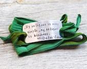 Silk Wrap Bracelet - Yoga Bracelet - My religion is very simple my religion is kindness - Hand Stamped Bracelet - Buddhist Jewelry