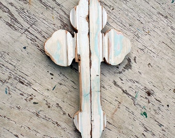 White Cross Salvaged Wood Wall Cross Religious Decor Distressed  Cross Serbian Orthodox Cross Rustic Cross, Salvaged Wood Cross, Boho Cross