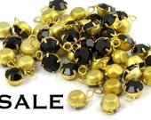 Vintage Jet Black Swarovski Rhinestone Drop Crystal Charms (6mm) (16X) (S516) SALE - 50% off