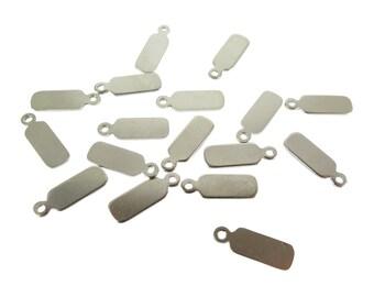 Small Rhodium Plated Engraving Tag Charms (10X) (M682-B)