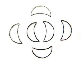 Rhodium Plated Moon Shape Wire Charms (36x) (K213-B)
