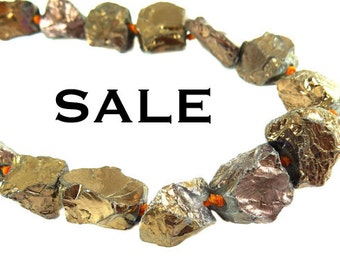 Brown Titanium Coated Quartz Rock Beads - (NS565) (3x) SALE - 50% off