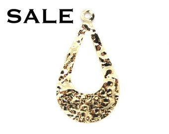 Gold Plated Hammer Teardrop Hoop Charms (6x) (V227) SALE - 25% off