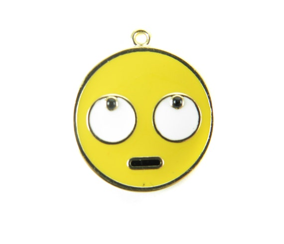Gold Plated Rolling Eye Face  - Emoji Charms (2x) (K316-A)
