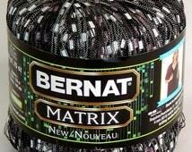 1 Ball BERNAT MATRIX LADDER Ribbon Yarn #02110 Variegated Steel Gray/White/Lavender 50 grams 140 yds Nylon/Polyester