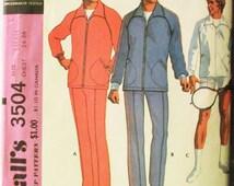 1970s Vintage McCalls Sewing Pattern 3504 Mens Jog Suit or Sport Jacket Pattern Size Small Uncut