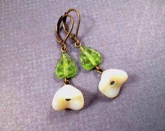 Flower Earrings, English Garden, Brass Dangle Earrings, FREE Shipping U.S.