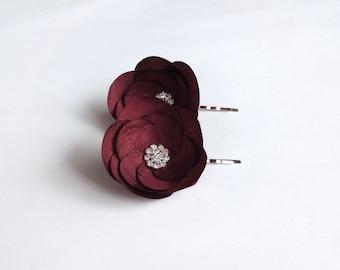 Dark Red Silk Flowers Hair Pins, Shoe Clips