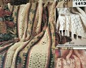 Crochet Patterns Afghans Knitting Pattern Keepsake and Lace Afghans Bernat 1413 DK Aran Chunky Weight Yarn Paper Original, NOT a PDF