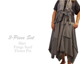 Sale Long Asymmetric Fleece Skirt and Matching Fringe Scarf Flower Pin M L XL Medium Large