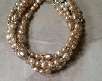 Champagne 4 Strand Freshwater Pearl and Swarovski Crystal Bracelet