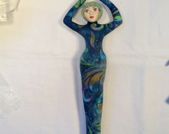 Batik Turquoise Goddess fantasy cloth art doll form w/face cab 11in. tall You finish her Bead Decorate