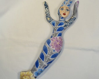 Silver Blue Goddess cloth art doll form w/face cab 12 in. You finish her Bead Decorate