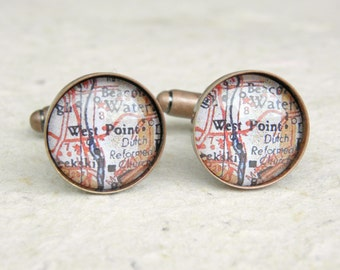 West Point Map Cufflinks - USMA Cuff Link Set - New York - United States Military Academy - Great gift for Cadet Graduation - Army