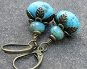 Turquoise Dangle Earrings on Antique Brass Leverback Earwires with Picasso Glass... Wire Wrapped Gemstone Earrings
