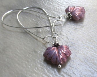 Lavender Maple Leaf Earrings, Long Silver Kidney Wires, Sugar Frosted Purple Glass, Wire Wrapped Autumn Earrings