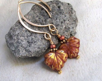 Bronze Maple Leaf Earrings Gold Almond Handmade Earwires Rose Brown Picasso Luster Glass Wire Wrapped Autumn Leaves