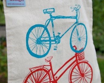 Bike Double Down Natural Grocery Tote Bag