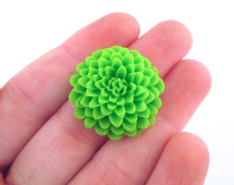 green mum cabochons 25mm, pick your amount, E245