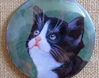 Tuxedo Cat Painting, Round Magnet OR Pinback Button, Badge, Kitten Looking Up, Pastel Art, Three Inch Button or Magnet