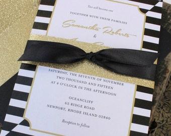 Vellum overlay vintage wedding invitation biltmore estate elegant black and gold wedding invitation design fee stopboris Choice Image