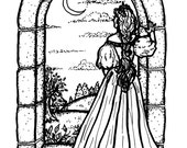 Downloadable coloring page Moonview fantasy art