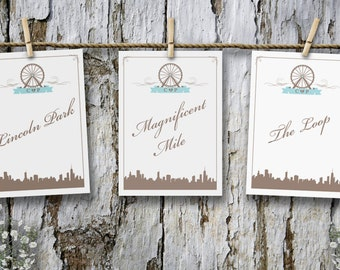 Chicago Skyline & Navy Pier Ferris Wheel Table Cards