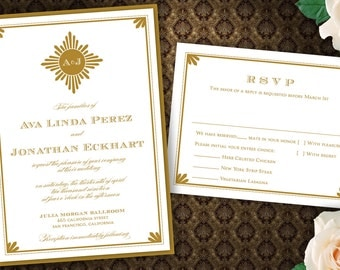 Art Deco Inspired Sunburst Wedding Invitation