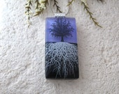 Mirror Tree Necklace, Fused Glass Jewelry, Rooted Tree, Tree of Life Jewelry, Glass Pendant, Necklace Included, Purple Necklace 101215p101
