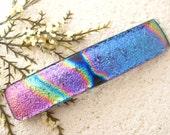 Medium Hair Barrette, French Barrette, Pink Purple Blue Rainbow, Dichroic Jewelry, Fused Glass Barrette, Dichroic Barrette,  021316ba101