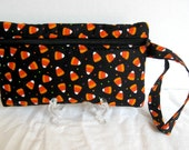 Halloween Wristlet - Candy Corn Wristlet - Wrist Style Purse - Wallet with Strap - Cellphone Purse