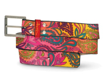 Hand Drawn Paisley Leather Belt, Paisley Leather Belt, Hand Drawn Paisley Belt, Paisley Leather Belt