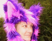 Alley Cat Fur Hat Furry Pink Purple Stripe Kitty Bat Hood Adult Unisex Geek Animal Hat HAlloween Costume Hat Huge Ears Furry Hood