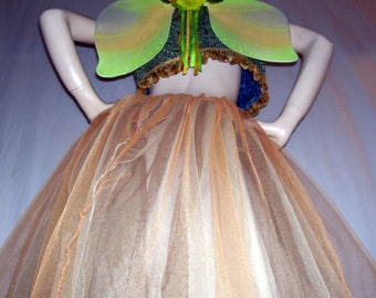Adult Fairy Costume Tutu Vest Wings brown gold green Glittery OOAK Long Tutu Skirt Fringe Bolero Halloween Renaissance Costume Adult S M