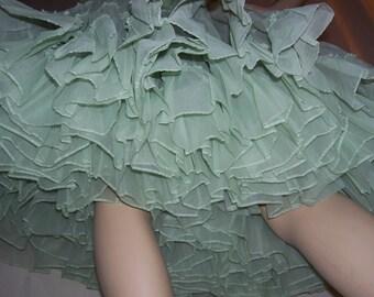 Sea Foam Green Crinoline Skirt Halloween Costume Slip Petticoat Vintage vtg Mint Green Huge Full Square Dance Fluffy Party Adult S to Plus