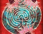 Batik Labyrinth and Coneflowers- S, M, or L