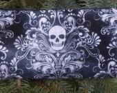Skulls pencil case, zippered bag, crochet hook case, knitting notion pouch, Skull Damask, The Deep Scribe