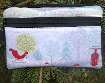 Winter mini wallet, purse organizer, wristlet, Winter Wonderland, Sweet Pea
