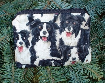 Border Collie coin purse, stitch marker pouch, gift card pouch, credit card case, The Raven