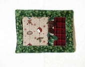 Patchwork Mug Rug, Candle Mat, Merry Christmas