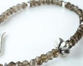 Smoky Quartz and Silver Stacking Bracelet Gemstone Sterling Silver Bracelet