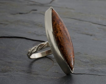 Goddess Eye Indonesian Stromatolite Sterling Silver Statement Ring Size 7. Cabochon Ring. Fossil Ring.