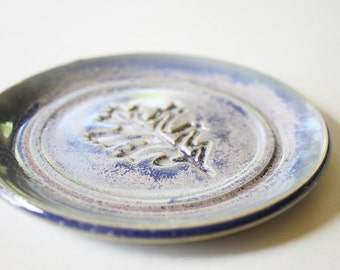 One Tea Bag Holder, Spoon Rest,  Ring Dish, Leaf stamp, Blue and Pink Glaze