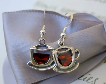 Tea or Coffee cup earrings with Siam CZ accents - Sterling Silver