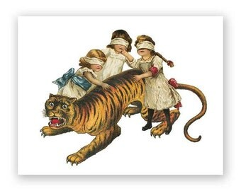 Children & Tiger Birthday Card
